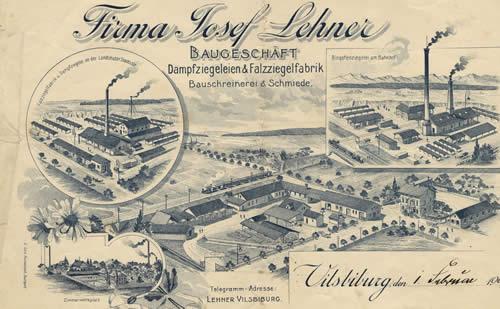 Lehner'sche Ziegeleien am Bahnhof und an der Landshuter Straße in Vilsbiburg um 1900