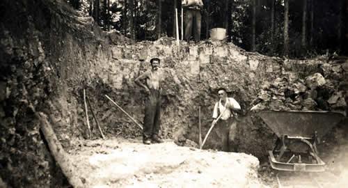 Tonabbau für die Ziegelei Jesendorf um 1955